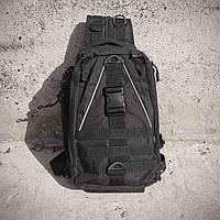 Черная тактическая сумка-рюкзак, мессенджер, барсетка., фото 8