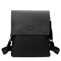 Мужская сумка через плечо Polo Videng, поло. Черная. 28x22x4,5, фото 3