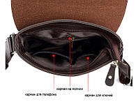 Мужская сумка через плечо Polo Videng, поло. Коричневая. 28x22x4,5, фото 3