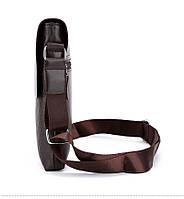 Мужская сумка через плечо Polo Videng, поло. Коричневая. 28x22x4,5, фото 4