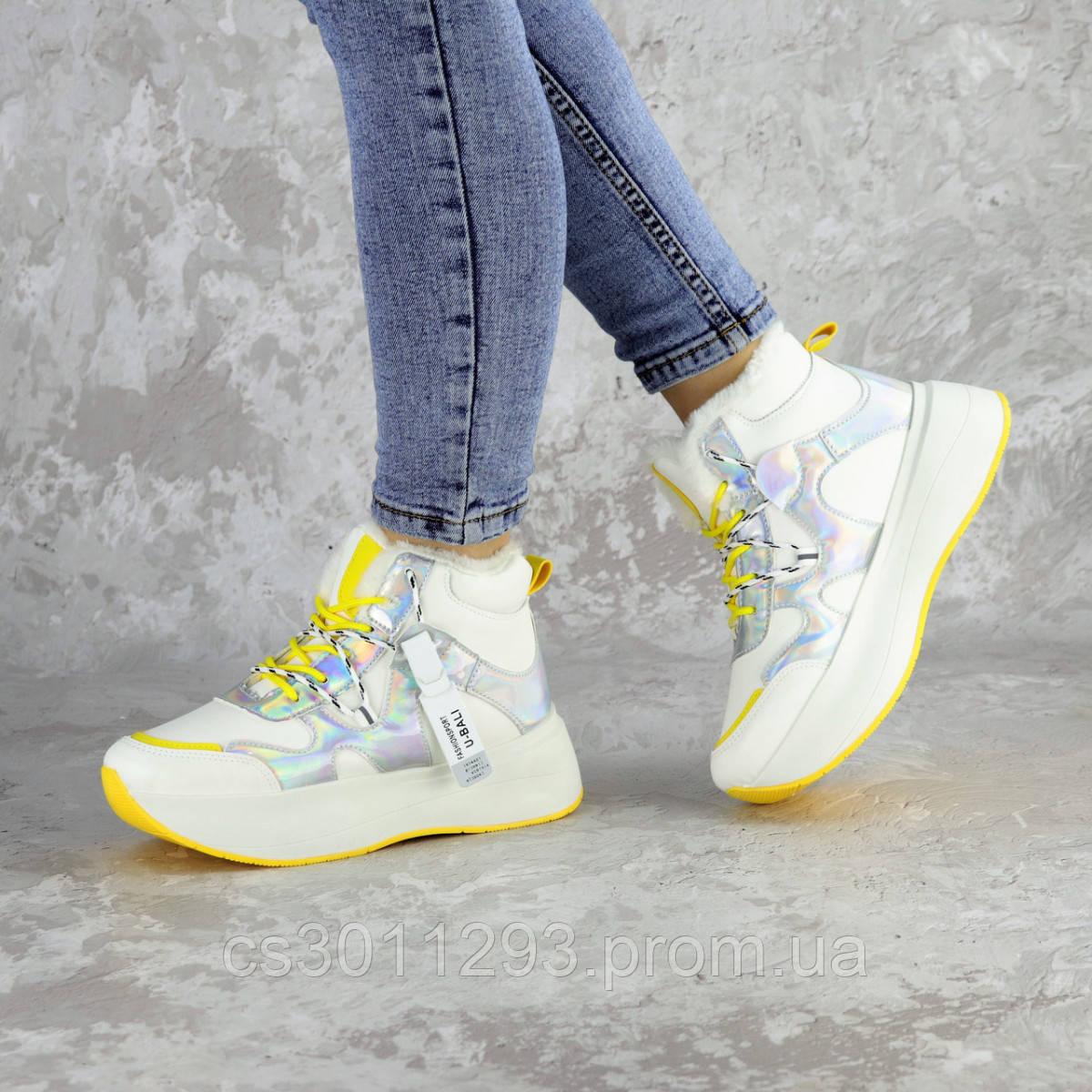 Кроссовки женские зимние Fashion Wrinkles 2424 36 размер 23 см Белый