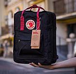 Сумка-рюкзак для девочки канкен Fjallraven Kanken classic школьный, городской, черный с бордовыми ручками, фото 5