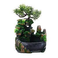 Світлодіодний Настільний міні смоли рокарій сад пейзаж фонтан насос статуетки для домашнього офісу