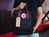 Сумка-рюкзак для девочки канкен Fjallraven Kanken classic школьный, городской, черный с бордовыми ручками, фото 3