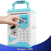 Дитячий сейф скарбничка Robot Bodyguard №.906 з відбитком пальця, кодовим замком і купюропріємником Синій