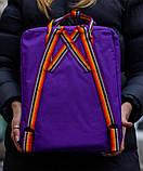 Рюкзак-сумка женский, для девочки канкен фиолетовый радуга Fjallraven Kanken 16 л. с радужными ручками, фото 5