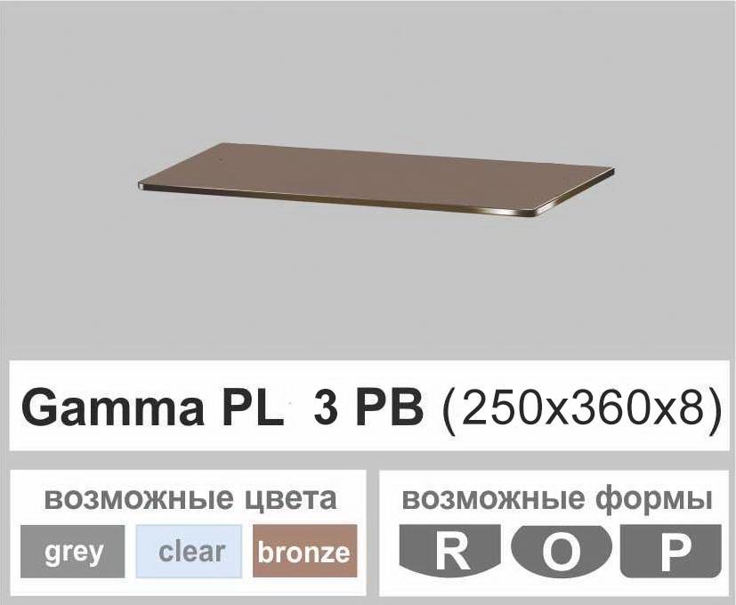 Стеклянная полка прямоугольная Commus PL3 PB (250х360х8мм)