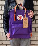 Женский рюкзак сумка Fjallraven Kanken classic rainbow 16 фиолетовый с радужными ручками | канкен радуга, фото 5