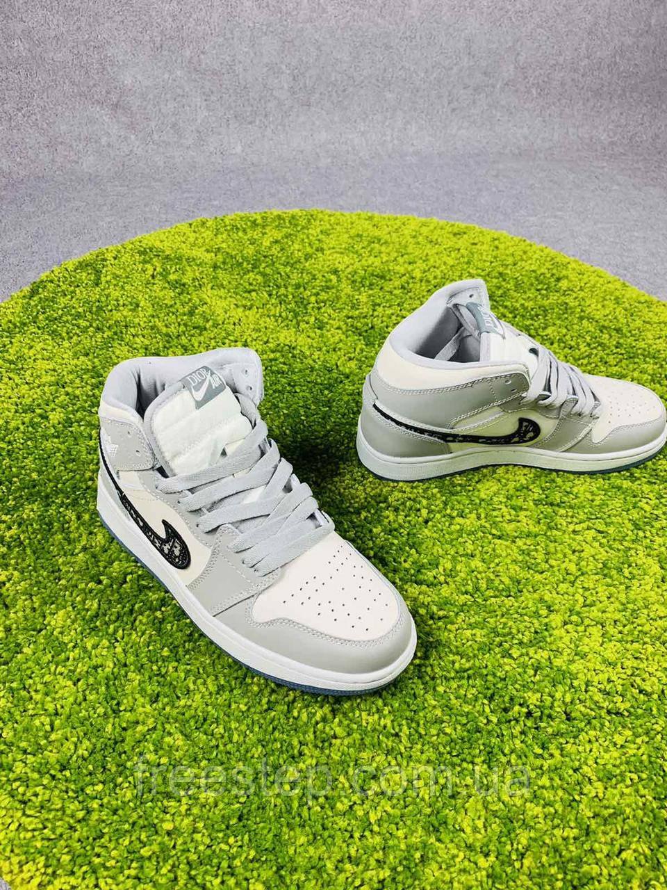 Женские кроссовки в стиле Jordan 1 Retro High Dior белые с серым