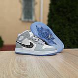 Женские кроссовки в стиле Jordan 1 Retro High Dior белые с серым, фото 8