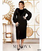 Элегантное черное миди платье с длинным разрезом с 50 по 60 размер