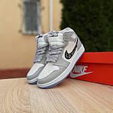 Женские кроссовки в стиле Jordan 1 Retro High Dior белые с серым, фото 10