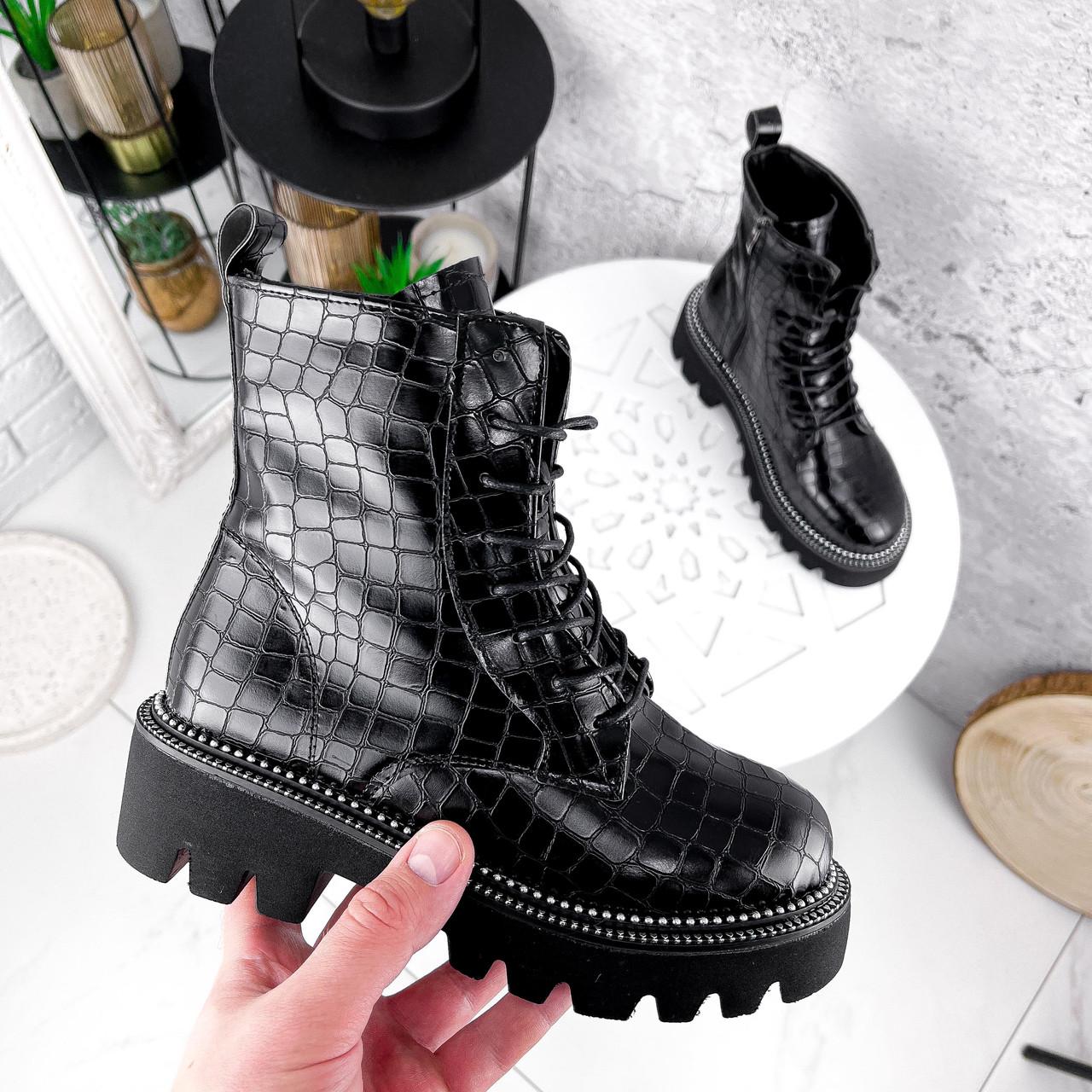 Ботинки женские Piton черные ДЕМИ 2841