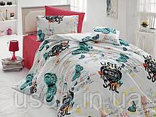Комплект постельного белья ранфорс  Nazenin полуторный размер Мusic
