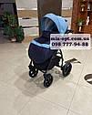 Детская коляска 2 в 1  Classik ( Классик) Victoria Gold эко кожа синий, фото 4