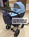 Детская коляска 2 в 1  Classik ( Классик) Victoria Gold эко кожа синий, фото 2