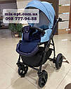 Детская коляска 2 в 1  Classik ( Классик) Victoria Gold эко кожа синий, фото 5