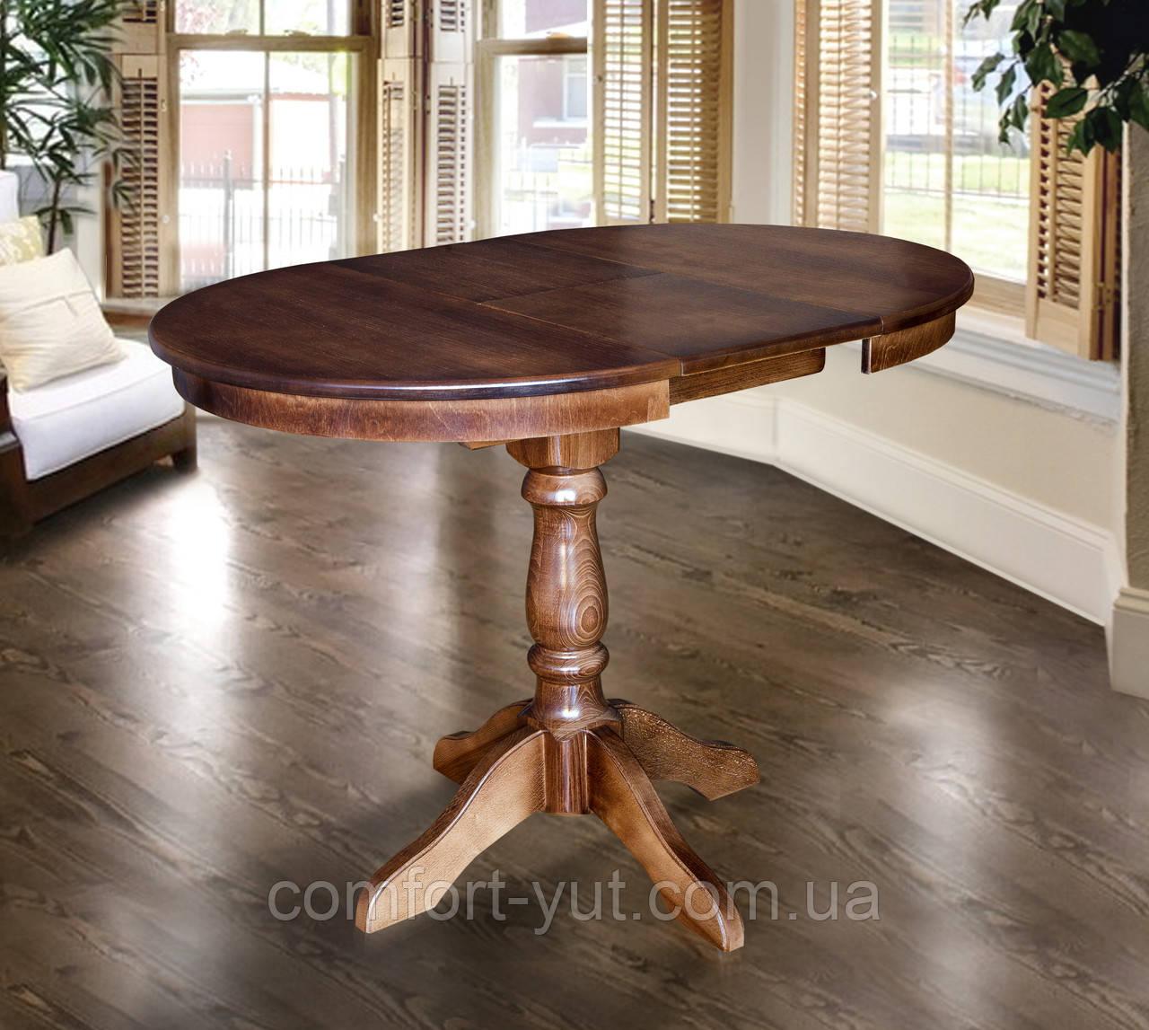 Стол Чумак-2 орех темный 80(+30)*80 обеденный раскладной деревянный