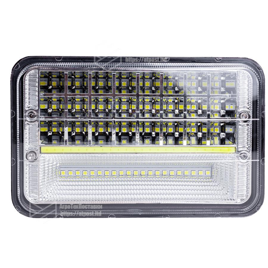 Фара LED прямоугольная 45W (45х1Вт)(ближн.+дальний+DRL)(Алюминиевый корпус)(Вилка Н4) (IP67)(170ммх80ммх105мм)
