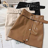 Кожаные женские юбки с ремнём, фото 6