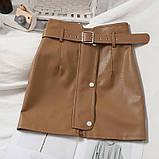 Кожаные женские юбки с ремнём, фото 2