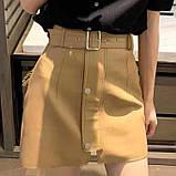 Кожаные женские юбки с ремнём, фото 4