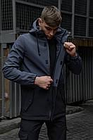 Парка мужская весенняя осенняя Softshell серая демисезонная | Куртка Ветровка мужская ЛЮКС качества