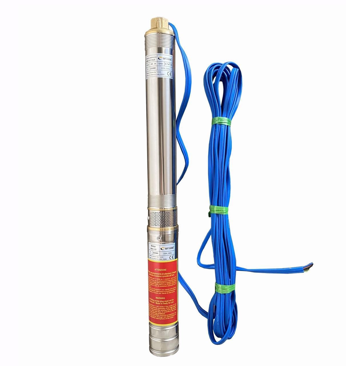 Насос скважинный центробежный Optima 3SDm1,8/11 0,25 кВт 45 м + кабель 15 м и пульт