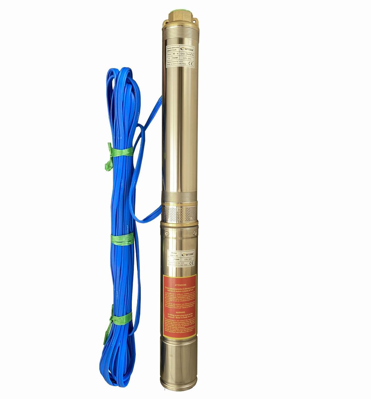 Насос скважинный центробежный Optima 4SDm3/11 0,75 кВт 80 м + пульт