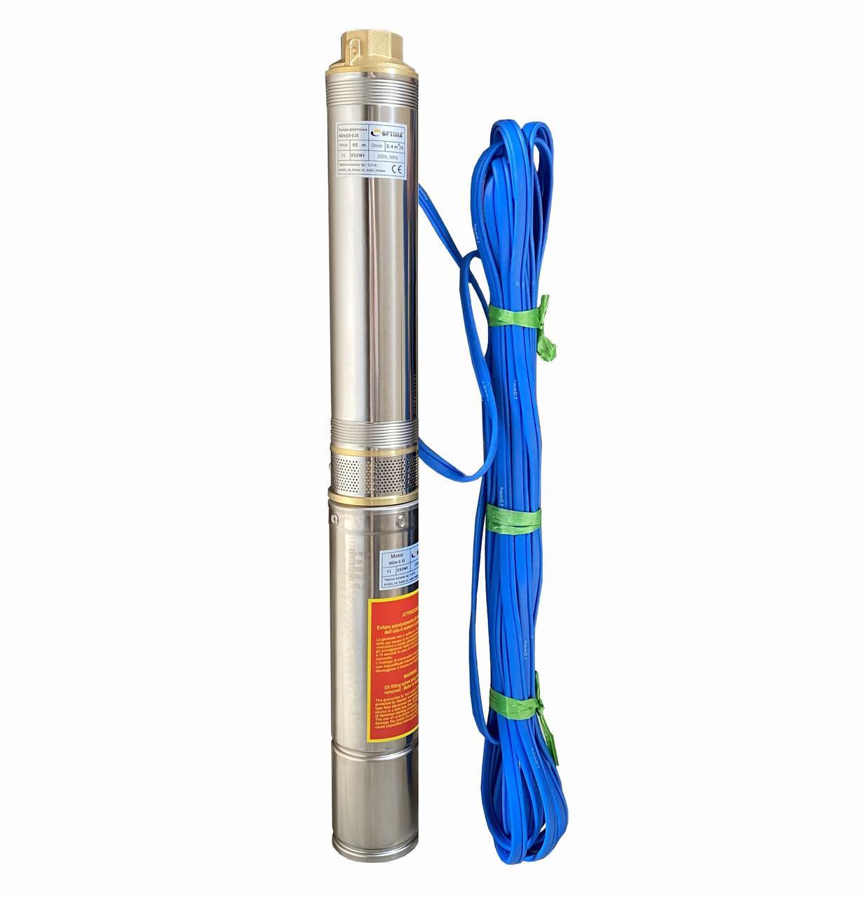 Насос скважинный центробежный Optima 4SDm3/ 9 0,55 кВт 65 м + пульт