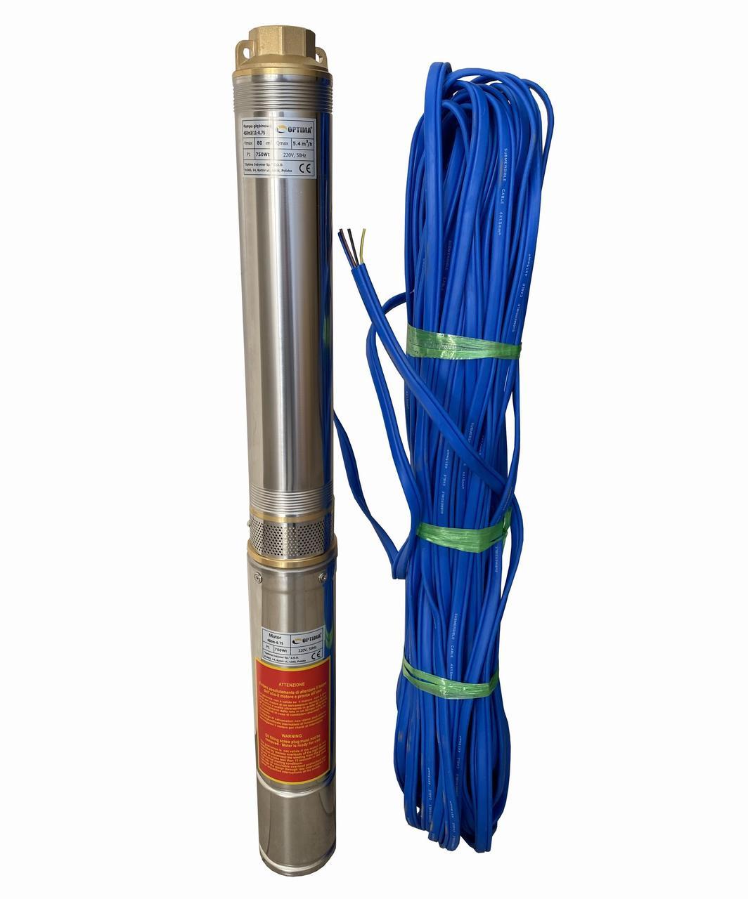 Насос скважинный центробежный Optima 4SDm3/11 0,75 кВт 80 м + кабель 50 м и пульт