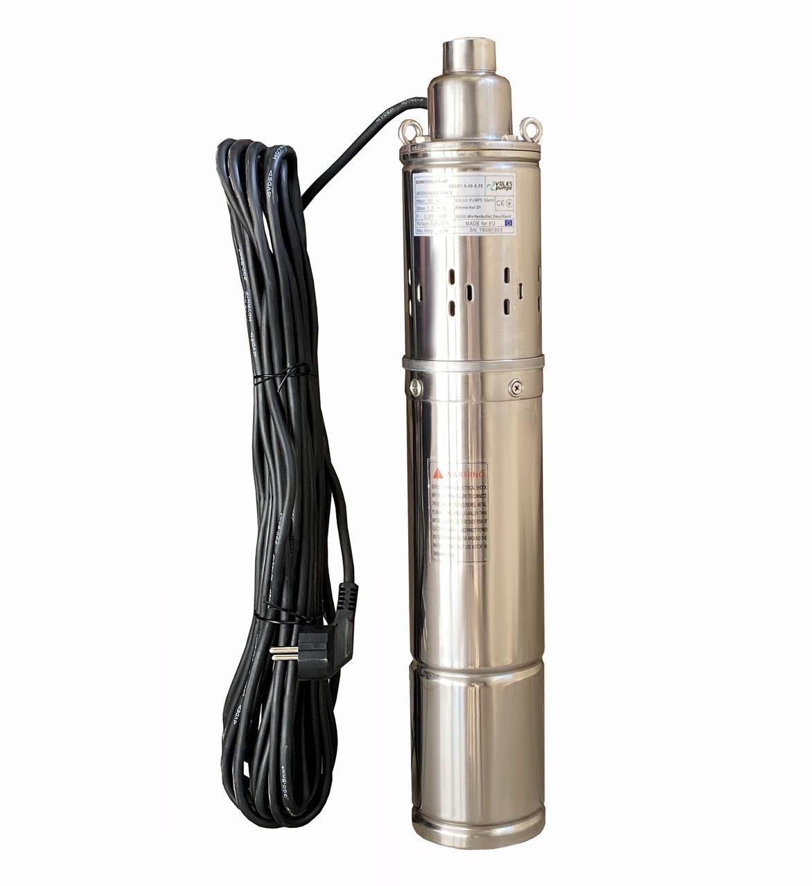 Насос скважинный шнековый Volks pumpe 4QGD 1,8-50-0,5 кВт 4 дюйма + кабель 15 м