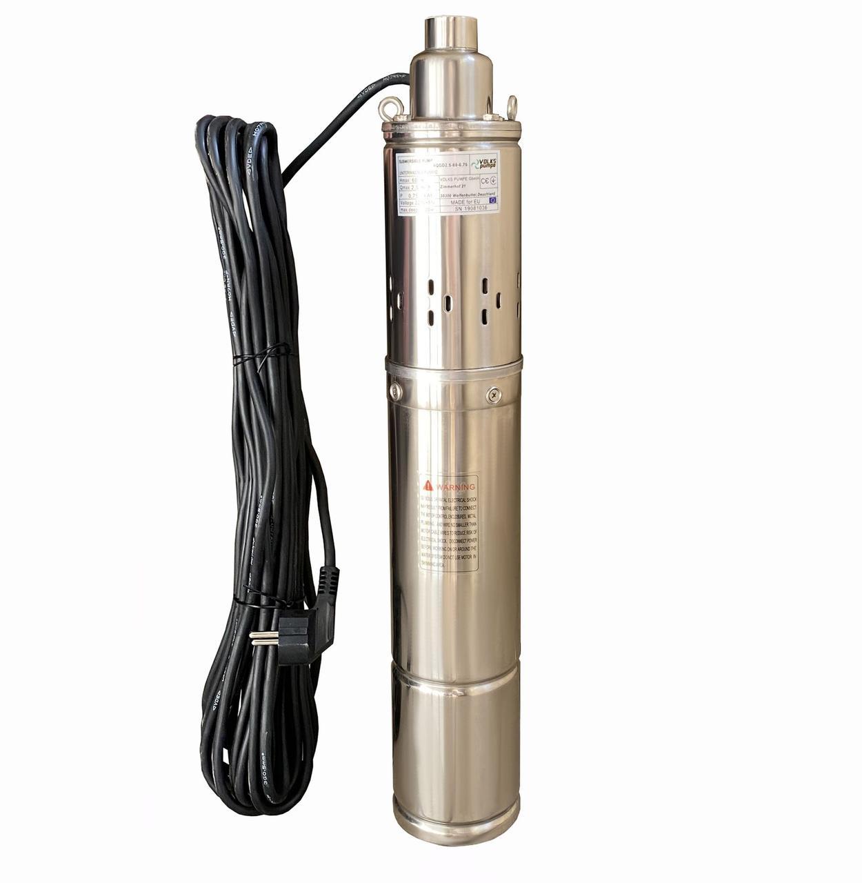 Насос скважинный шнековый Volks pumpe 4QGD 2.5-60-0,75 кВт 4 дюйма + кабель 15 м