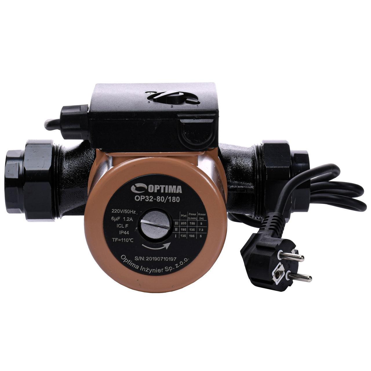 Насос циркуляционный Optima OP32-80 180 мм + гайки + кабель с вилкой