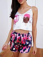 Шелковая пижама женская (топ+шорты) S, M, L Пончик, фото 1