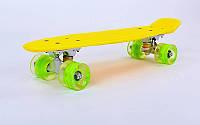 """Пенни борд 22""""  желтый с салатовыми светящимися колесами, фото 1"""