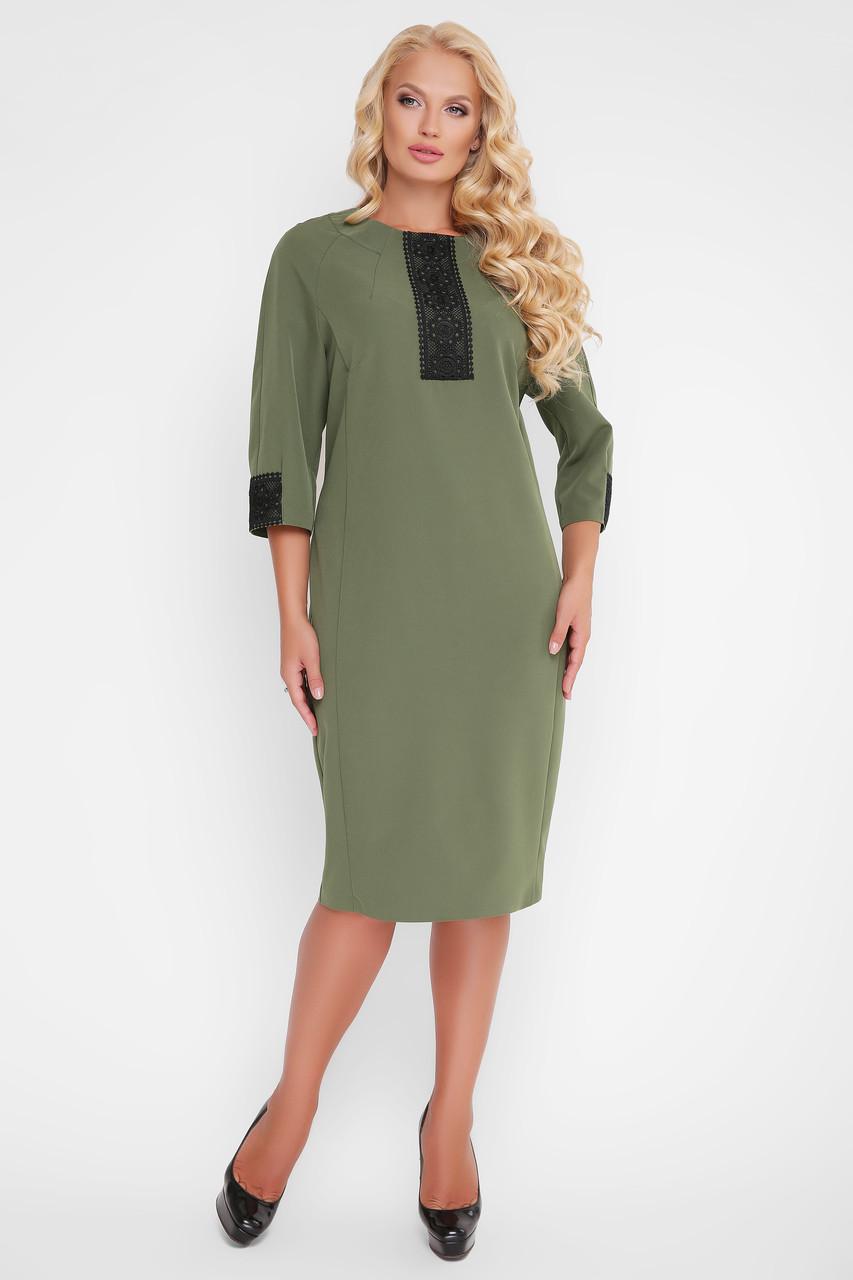 Платье женское с кружевом Аманда оливкового цвета 56