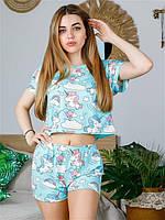 Молодежная пижама женская футболка с шортами с принтом Единорог голубой размеры (S, M, L, XL)