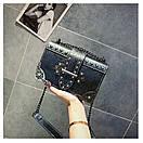 Брендовые женские сумки цепочка через плечо стиль винтаж с заклепками, фото 3