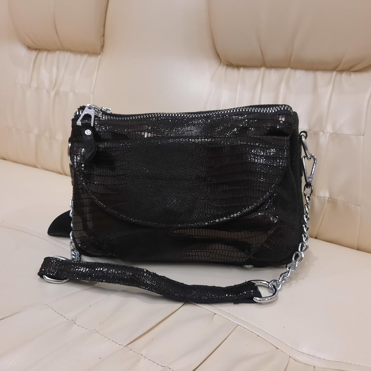 Женская черная  городская сумочка из стильной лазерной натуральной кожи