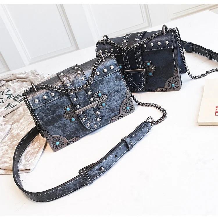 Брендовые женские сумки цепочка через плечо стиль винтаж с заклепками