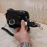 Женская черная  городская сумочка из стильной лазерной натуральной кожи, фото 2