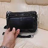 Женская черная  городская сумочка из стильной лазерной натуральной кожи, фото 3