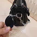Женская черная  городская сумочка из стильной лазерной натуральной кожи, фото 5