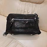 Женская черная  городская сумочка из стильной лазерной натуральной кожи, фото 6