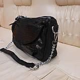 Женская черная  городская сумочка из стильной лазерной натуральной кожи, фото 7