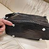 Женская черная  городская сумочка из стильной лазерной натуральной кожи, фото 8