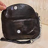 Женская черная  городская сумочка из стильной лазерной натуральной кожи, фото 9
