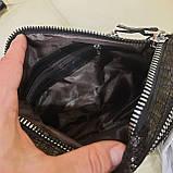 Женская черная  городская сумочка из стильной лазерной натуральной кожи, фото 10