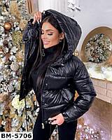 Женская короткая кожаная куртка с капюшоном Разные цвета, фото 1